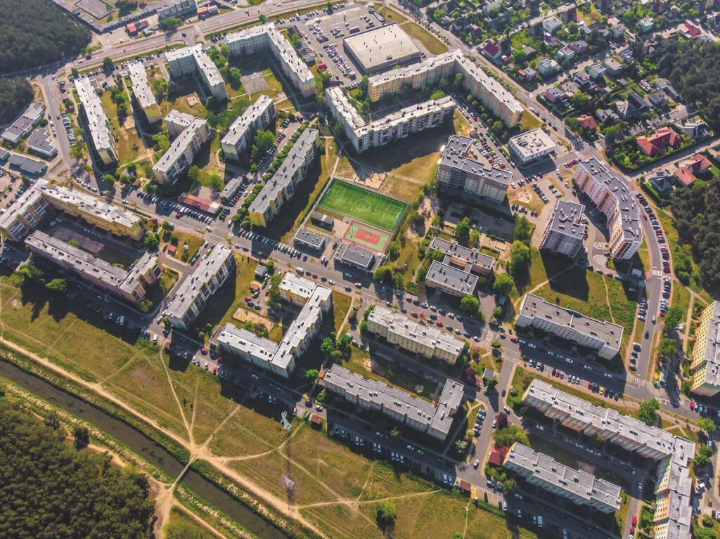 Widok z lotu ptaka na jedno z Nowosolskich osiedli