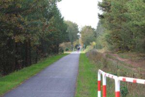 Ścieżka rowerowa biegnąca przez las. W oddali dwóch rowerzystów.