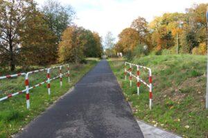 Ścieżka rowerowa. Po bokach, na początku, barierki. W tle jesienne drzewa.