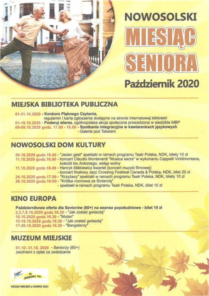 Plakat informujący o wydarzeniach Nowosolskiego Miesiaca Seniora