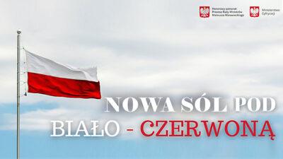 plakat Nowa Sól pod biało-czerwoną flagą