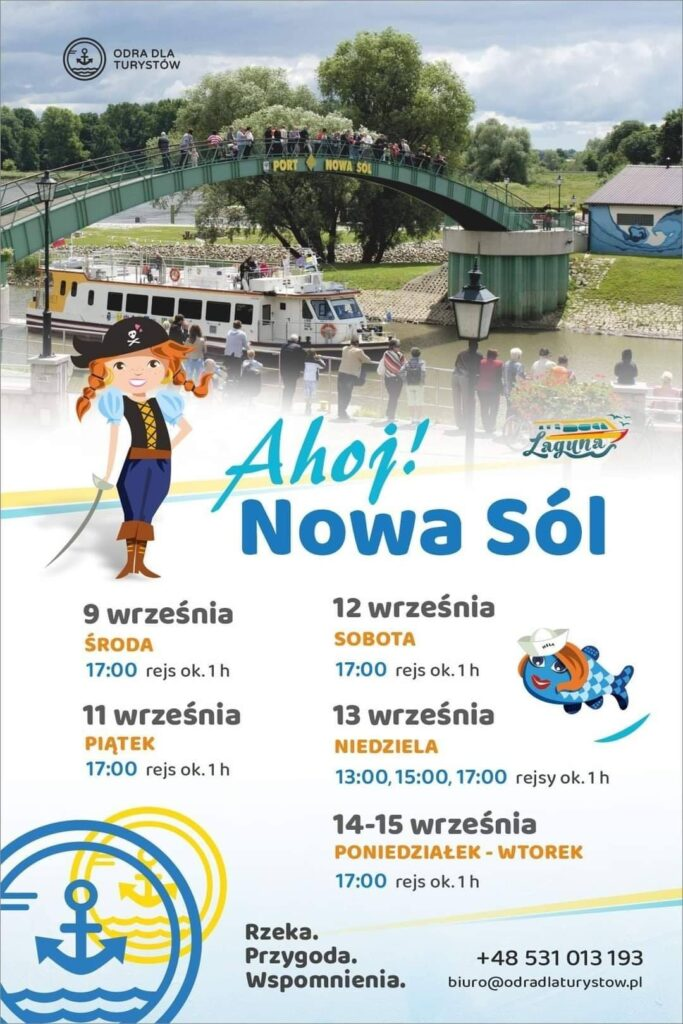 Na plakacie znajdują się szczegółowe informacje dotyczące rejsów statkiem Laguna. Najbliższe rejsy: poniedziałek 14 września godzina 17.00 oraz wtorek 15 września godzina 17.00