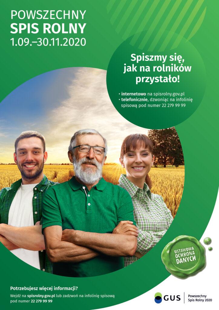 Na plakacie znajdują się szczegółowe informacje dotyczące powszechnego spisu rolnego 2020. Na obrazku znajduje się dwóch mężczyzn i jedna kobieta po prawej stronie
