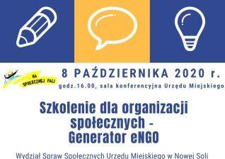 obrazek przedstawia szczegółowe dane dotyczące szkolenia, które odbędzie się 8 października 2020. Na górze obrazka znajduje się grafika w kolorach żółtym i fioletowym na dole treść, po lewej stronie logo miasta Nowa Sól