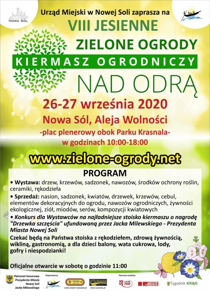 na zdjęciu plakat promujący ósmą edycję kiermaszu zielone ogrody nad Odrą oraz dokładny harmonogram imprezy.