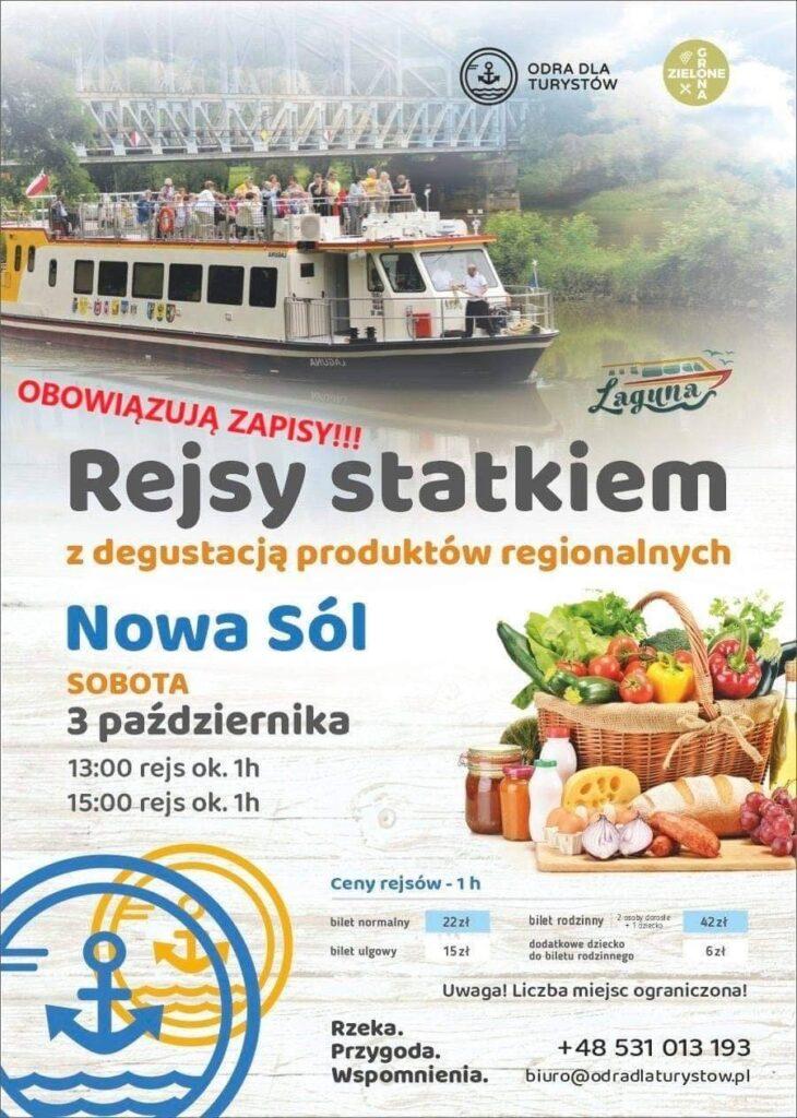 Na zdjęciu plakat zapraszający na rejsy z degustacją produktów regionalnych