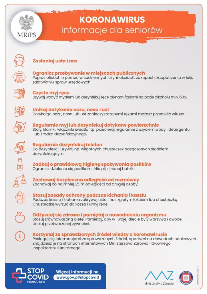 Afisz opisujący zasady bezpieczeństwa w czasie pandemii. Program Bezpieczny Senior
