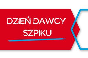 Biały napis Dzień Dawcy Szpiku na czerwonym tle.