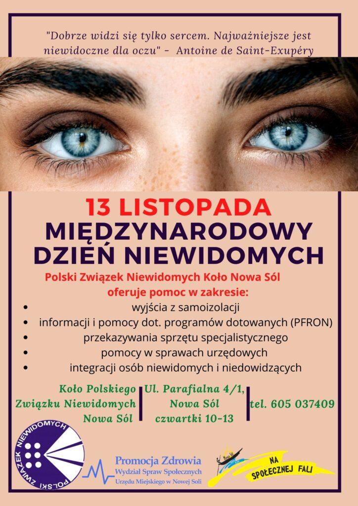 Na głównym planie kobiece oczy. Informacja na temat  międzynarodowego dnia niewidomych.