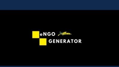 baner engo generator - na granatowym i czarnym tle znajdują się żółte kwadraty z napisem engo generator