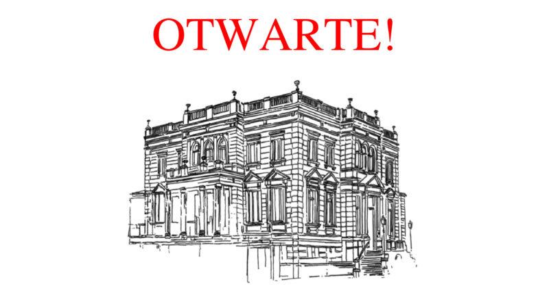 """obrazek z grafiką przedstawiającą budynek Muzeum Miejskiego w Nowej Soli umieszczoną na środku strony na białym tle. Nad nim, wzdłuż górnej krawędzi, czerwony napis """"OTWARTE!"""