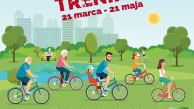 plakat promujący konkurs rowerowa stolica Polski, na zdjęciu rowerzyści