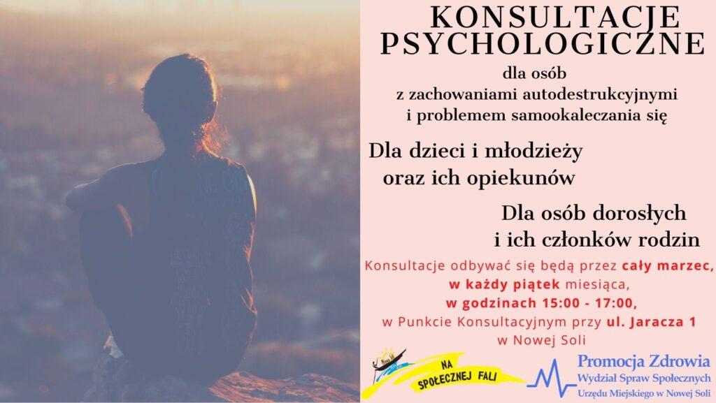 Kobieta siedząca tyłem patrząca na panoramę miasta ze wzgórza. Po prawej stronie napis konsultacje psychologiczne. Na dole logo na spoęłcznej fali oraz ministerstwa zdrowia.