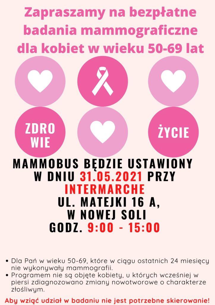 Afisz zapraszający na badania w mammobusie. Na różowym tle widnieją kółka z symbolami serca, różowej wstążeczki oraz napisami zdrowie i życie