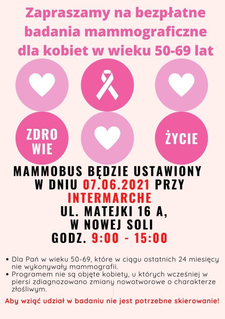 Afisz promujący badanie w mammobusie, dla pań w wieku 50-69 lat.