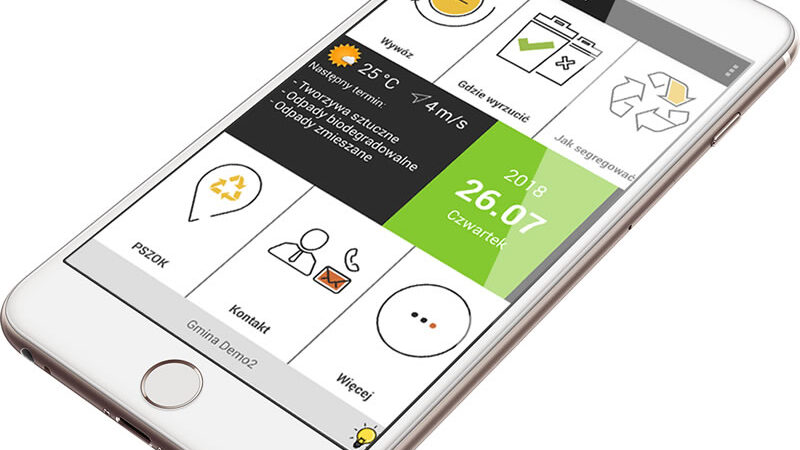 telefon komórkowy z aplikacją eko-przyszłość