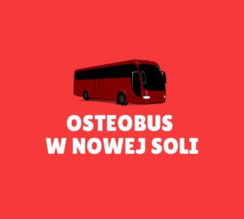na czerwonym tle znajduje się autobus, a pod nim napis osteobus w nowej soli