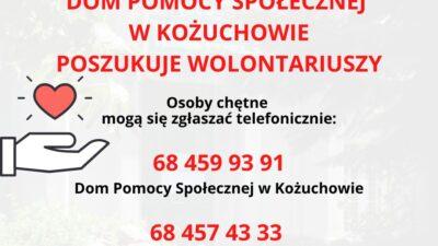 plakat domu pomocy społecznej w Kożuchowie zapraszający do wolontariatu