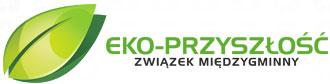 logo związku międzygminnego eko przyszłość . po lewej stronie zielony liść oraz nazwa zakładu
