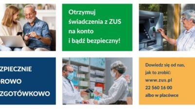 zdjęcie promujące kampanię ZUS pod nazwą: bezpiecznie, zdrowo,bezgotówkowo. Przedstawia seniorów w codziennych sytuacjach: przy pracy z komputerem, w aptece oraz wypłacając pieniądze z bankomatu