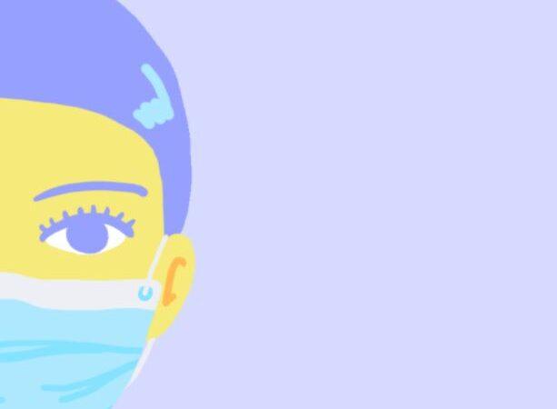 rysunek twarzy kobiety która ma zalożoną makę na usta i nos