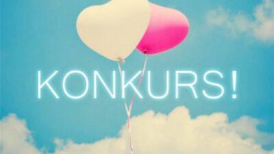 Na tle nieba i chmur widnieją dwa balony w kształcie serca, jeden biały, a jeden różowy. na środku napis konkurs