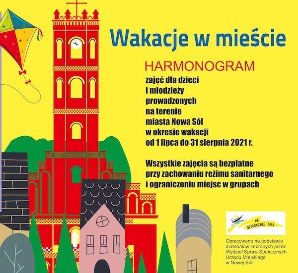 plakat wakacje w mieście, zabudowania charakterystyczne dla Nowej Soli, latawiec